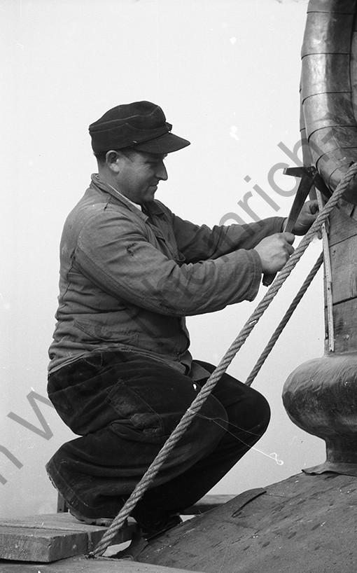 Liebfrauenkirche: Nun sind die Dachdecker an der Reihe, Heinrich Wolf Fotograf Archiv Koblenz