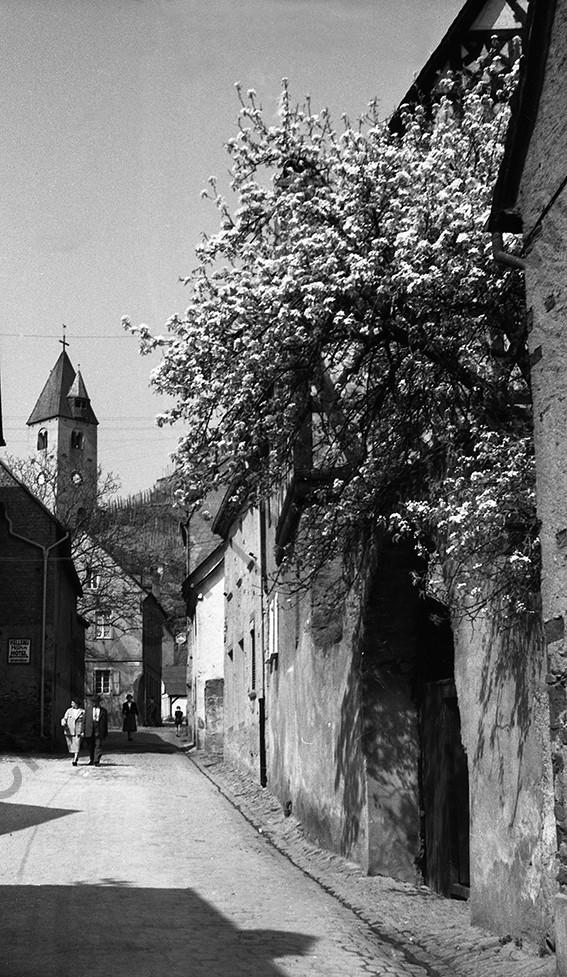 Kobern, Petersgasse, 1958, Heinrich Wolf Frühling an der Mosel