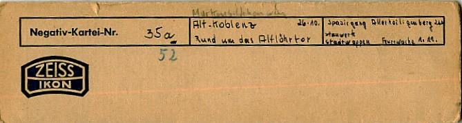 Heinrich Wolf Koblenz 1952 Fotograf Negativ-Kartei Zeiss Ikon